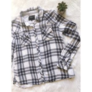Rails Blue White Plaid Lined Flannel Button Shirt